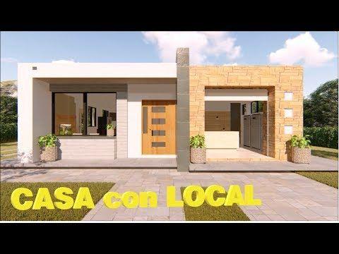 Diseno De Casa De Un Piso Y Local Comercial Youtube En 2020 Disenos De Casas Modelos De Casas Sencillas Frente De Casas Sencillas