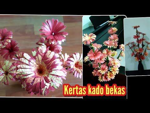 Cara Membuat Bunga Dari Kertas Kado Bekas Diy Flowers With Used Gift Paper Youtube Kerajinan Bunga Bunga Kertas Kerajinan Diy