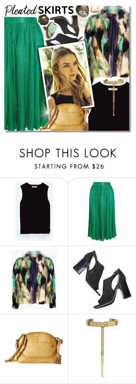 """""""~Pleated Skirts~"""" by amethyst0818 ❤ liked on Polyvore featuring Zara, Gucci, ADAM, Frye, Eddie Borgo and Tiffany & Co."""