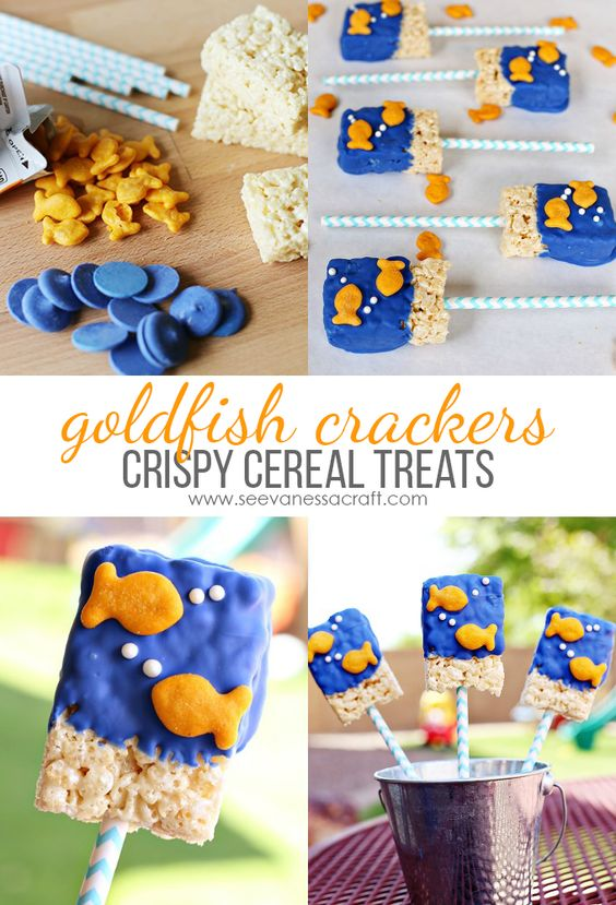 Goldfish Crackers Crispy Cereal Treats Recipe - perfect for a goldfish party!