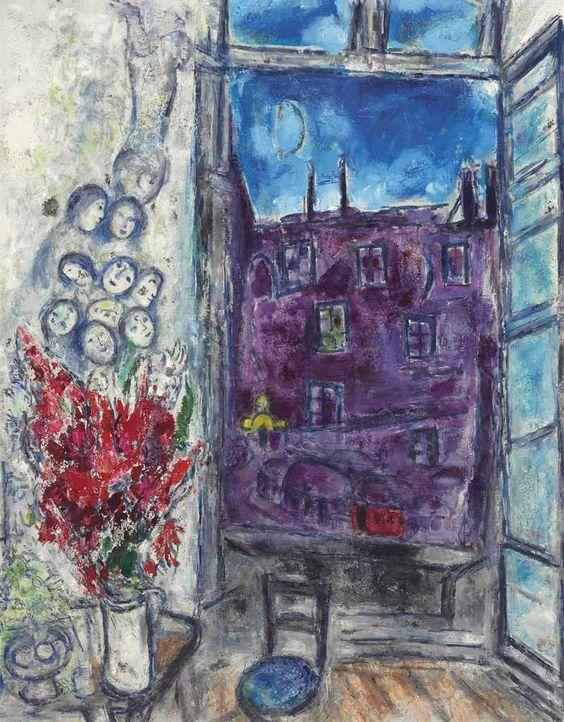 Marc chagall 1887 1985 la fen tre chagall pinterest for Fenetre 80x150