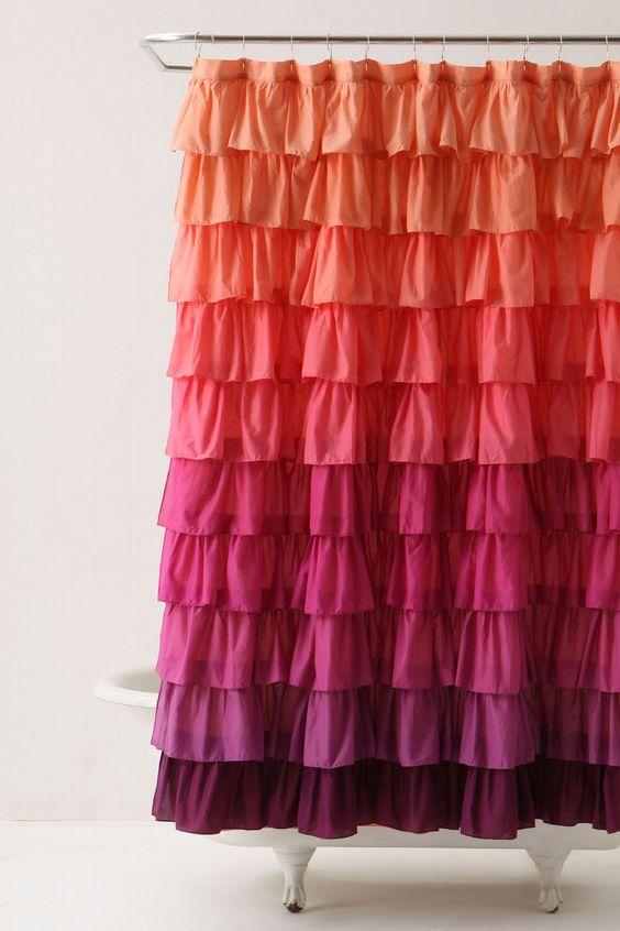 ruffle curtains coral purple