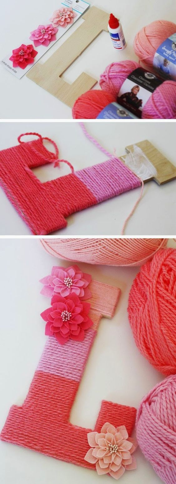 Wrap yarn around a letter made out a wood letter for a cute sign in the home! :):