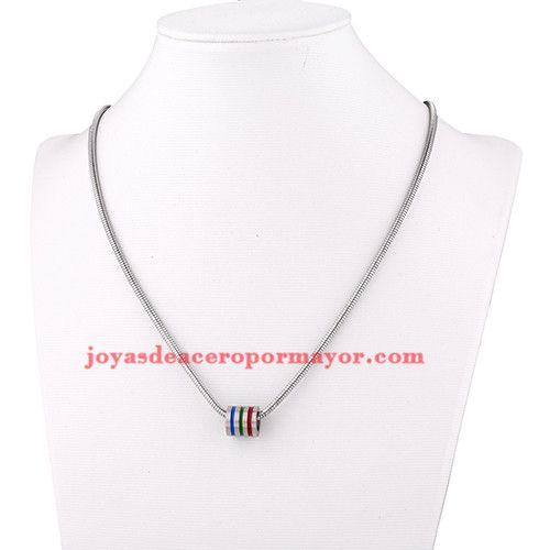 collar con perla rayas azul y roja en acero plateado inoxidable-SSNEG502862
