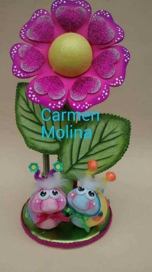 Flor rosa Goma Eva Pinterest