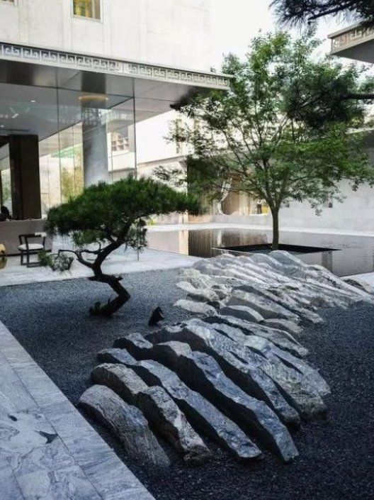 Japanischer Garten Hohe Sthetik Visuelle Harmonie Steine Kiesel Typische Stilelement Modern Japanese Garden Japanese Garden Landscape Garden Landscape Design