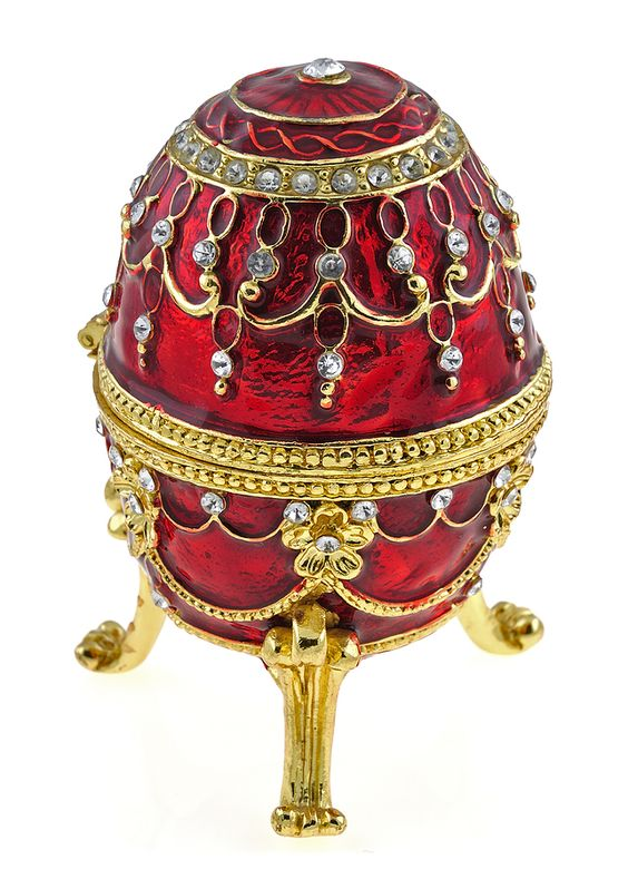 Red/gold and pearl faberge egg -