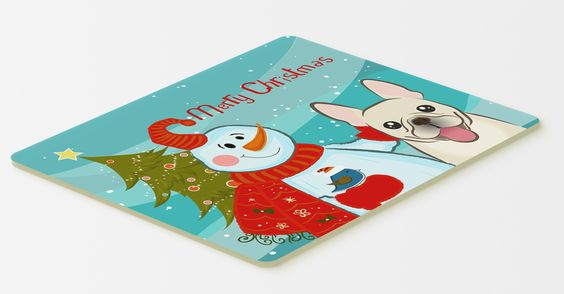 Snowman with French Bulldog Kitchen or Bath Mat 20x30 BB1858CMT