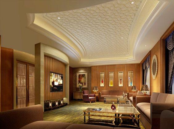 Luxury pattern gypsum board ceiling design for modern - Fall ceiling design for living room ...