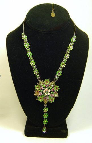 Signed-MICHAL-NEGRIN-Floral-Flowers-Multi-Color-Rhinestones-Adjustable-Necklace