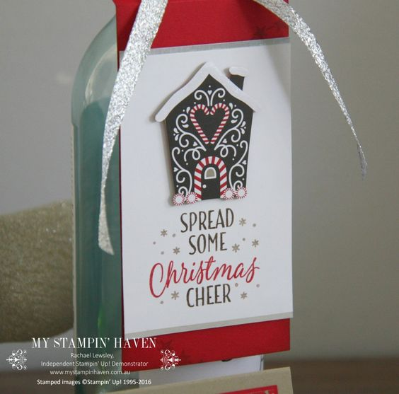 Tin Of Tags, Candy Cane Lane DSP wine bottle gift tag #MyStampinHaven #StampinUp…