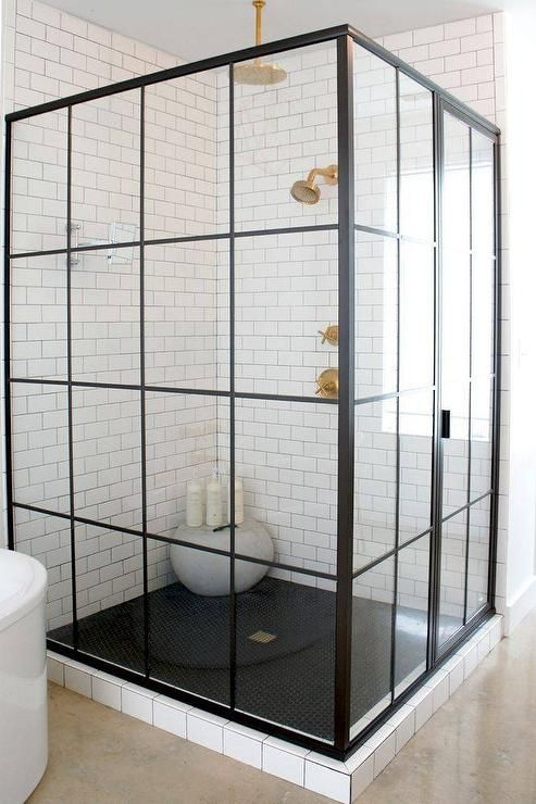 Corner steel shower enclosure