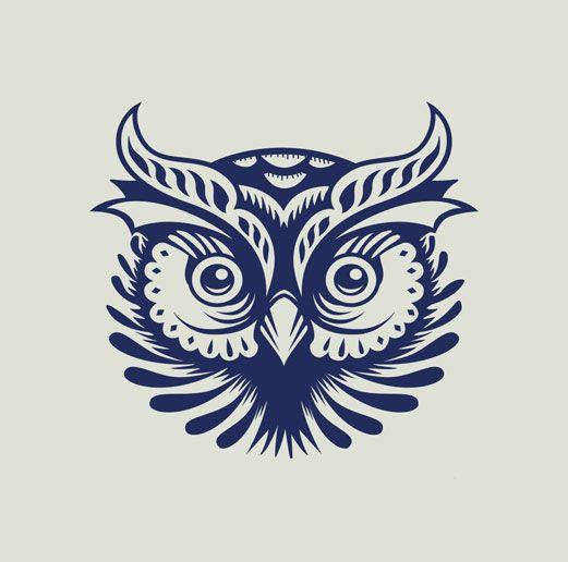 The owl via p53 illustration pinterest owl logo for Tattoo style logo design