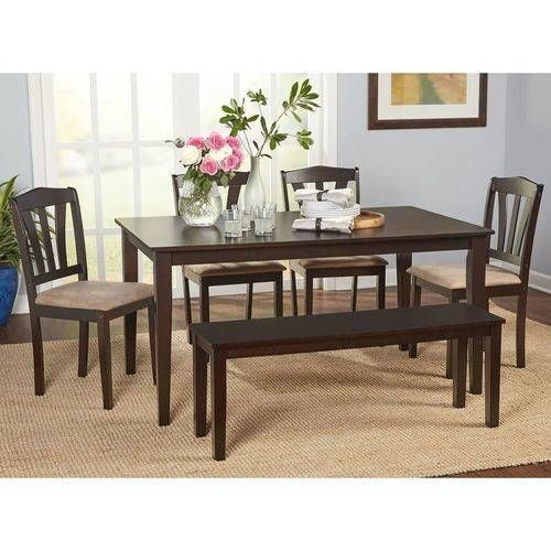 6 Piece Rustic Dining Table Chairs Bench Set Kitchen Wooden