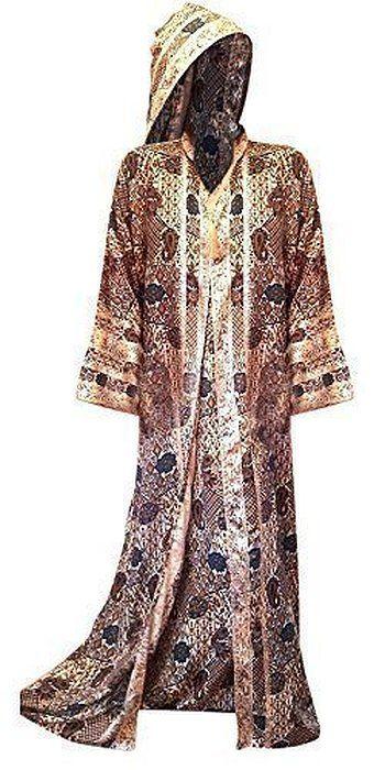 Cool Kaftans - Neu Marokkanisches Kleid Jilbab Kaftan Abaya Mit Kapuze Party Lang Seidig Weich - Mehrfarbig, S