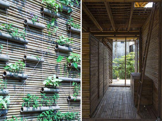 Jardín vertical en la casa de bambú por H&P arquitectos en Hanói ...