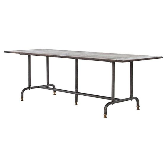 Waylon Industrial Loft Dark Grey Metal Wood Dining Table | Kathy Kuo Home