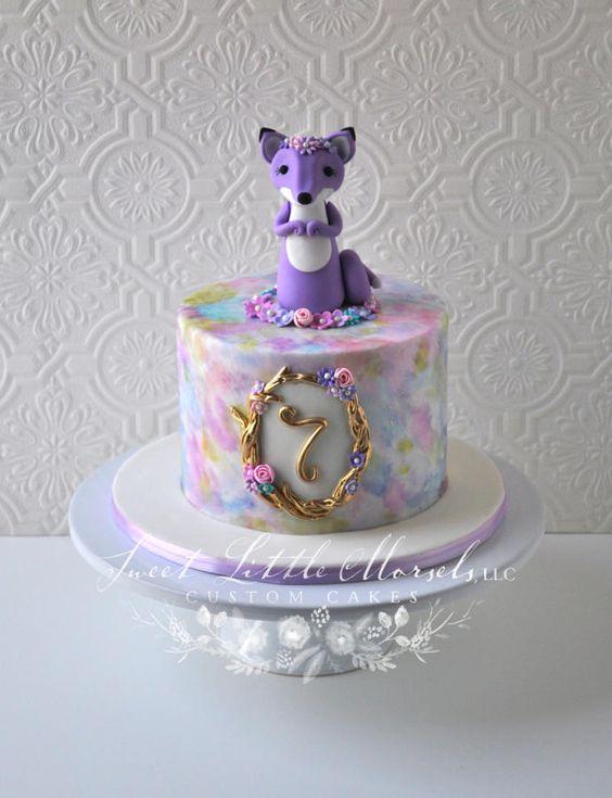 Purple Fox Birthday Cake - Cake by Stephanie