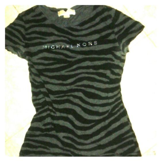 Michael Kors Tshirt Cute black and gray zebra print T-shirt, with Michael Kors written across the chest area. MICHAEL Michael Kors Tops Tees - Short Sleeve