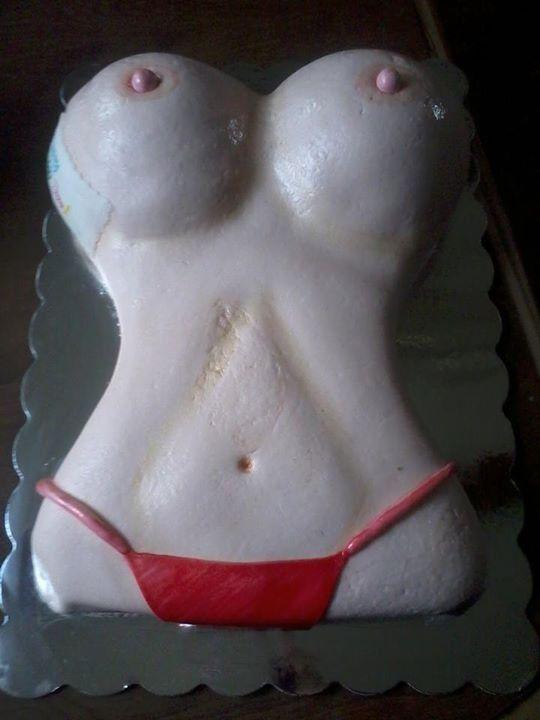 Decorate a boob cake