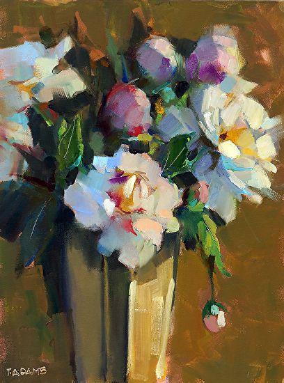 Francie's Peonies by Trisha Adams Oil ~ 16 x 12