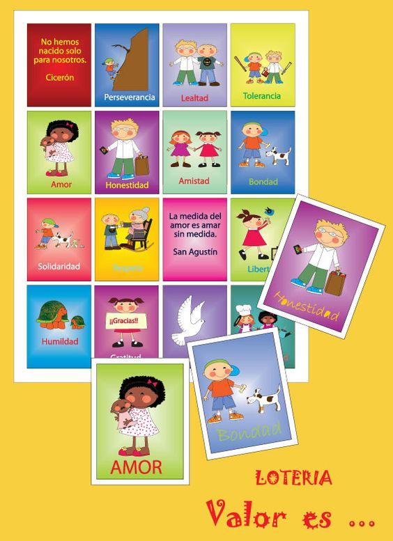Loteria de valores para niños para imprimir - Imagui