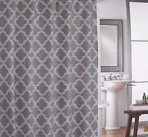 Cynthia Rowley Charcoal Grey White Quatrefoil Fabric Shower Curtain New Quatrefoil Grey