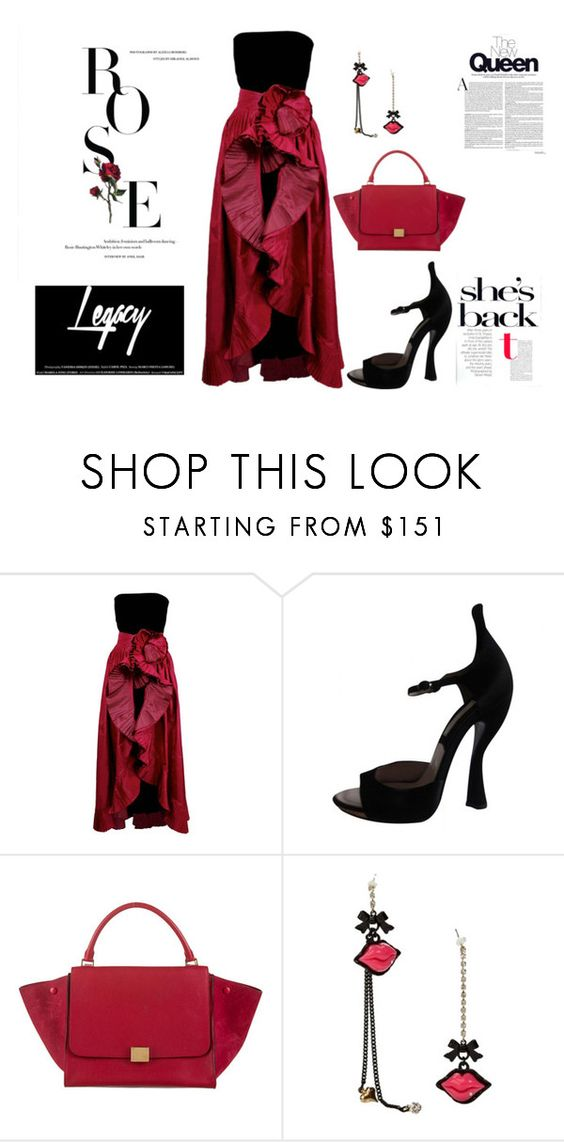 """Untitled #4132"" by browneyegurl ❤ liked on Polyvore featuring Nina Ricci, CÉLINE and Betsey Johnson"