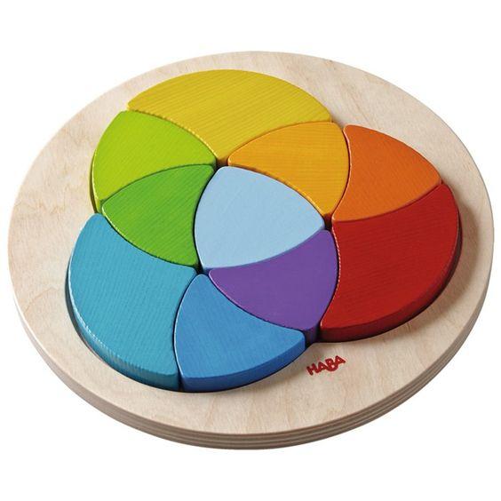 Puzle de madera crom�tico 10 piezas Arco Iris - HABA