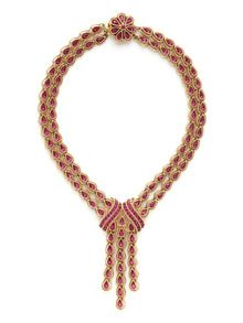 Trifari Pink Crystal & Gold Tassel Pendant Necklace by House of Lavande at Gilt