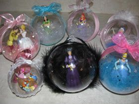 Capture a Disney figurine in a clear bauble for this handmade Christmas ornament - so cute!