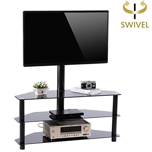 Rfiver Black Corner Floor Tv Stand With Swivel Mount Bracket For