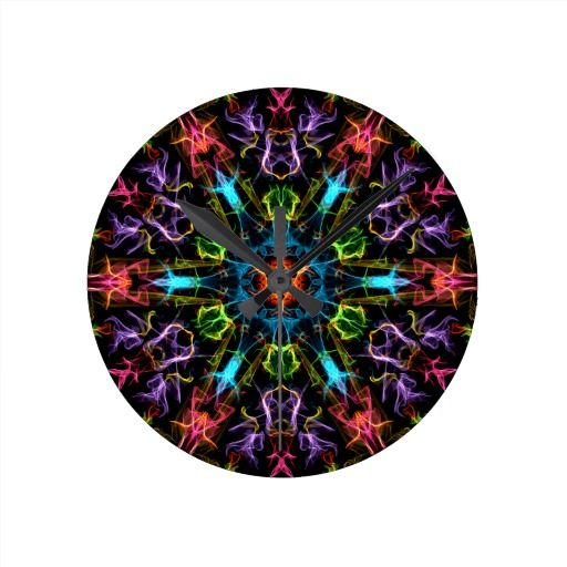 Frenzied Colors Round Wall Clocks!  #zazzle #geek #graphic #store #gift #present #personalize http://www.zazzle.com/fractalsbydww25921*