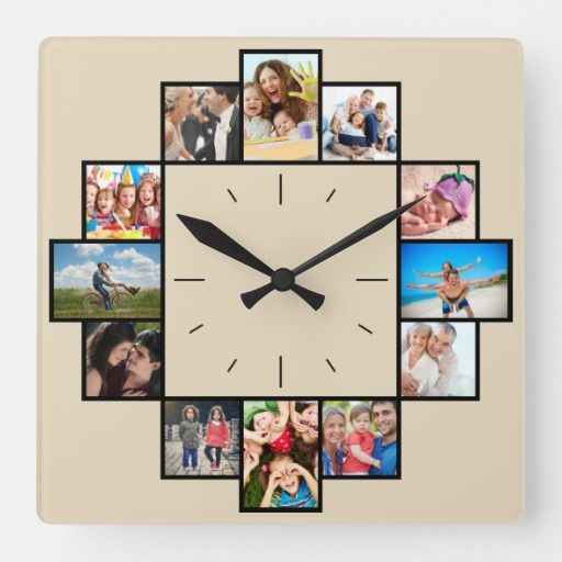 Custom 12 Keepsake Memories Family Photo Collage Square Wall Clock Zazzle Com Family Photo Collages Family Photo Wall Family Pictures On Wall