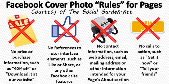 Here is a great 'Rules of Facebook Timeline covers for Pages' photo for you to enjoy.     Remember the rules for Cover photos of Pages are much more in depth and specific vs. the rules for profile covers.