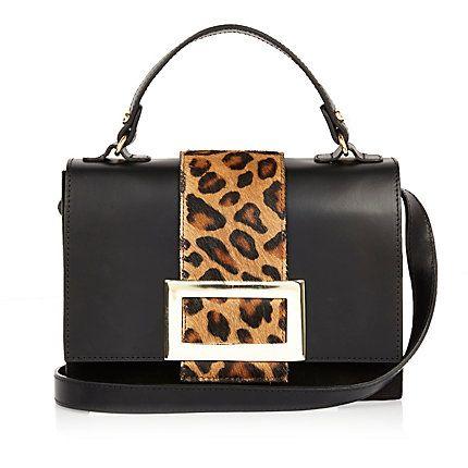 Black leather animal print boxy handbag €65.00