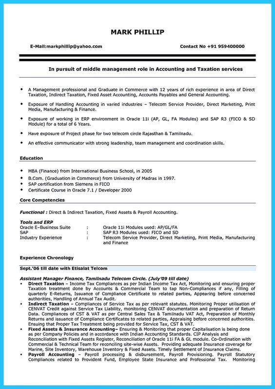 Payroll Accountant Resume Sample Resume job Pinterest Sample - payroll accountant sample resume