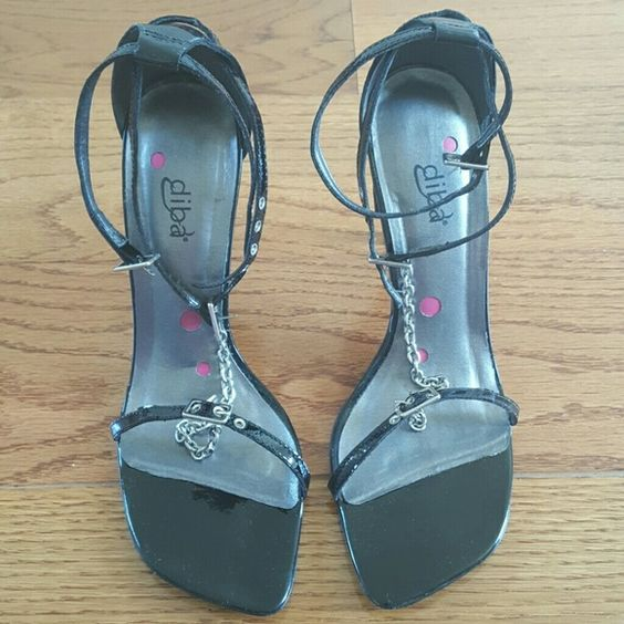 4 inches heels sandal new without tag and box, color black, leather upper, man made sole, made in Brazil Diba Shoes Heels