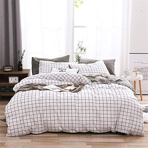 Single Duvet Cover Grid White Grey Stripe 100 Cotton Soft Bedding Set Geometric Checkered Pattern For One Pe Duvet Cover Sets Chic Bedding Sets Minimalist Bed