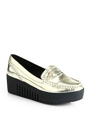 Opening Ceremony Spectator Metallic Leather Platform Loafers