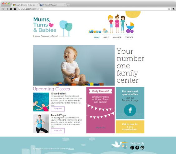 Mom And Baby Center Wix Website Templates Pinterest