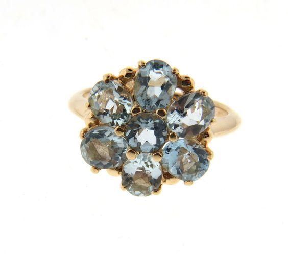 Natural Aquamarine Flower Ring in 14K Yellow Gold 2 Carat 3.25 g. Size 4.5…