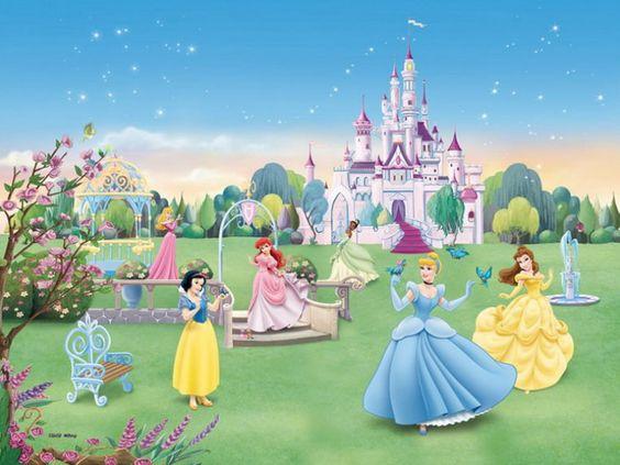 Castle murals for girls bedrooms room with disney for Disney princess castle mural