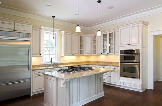 L Shaped Kitchen With Small Island Curved Counter