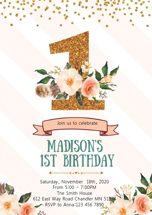 Floral Confetti First Birthday Invitation First Birthday Invitations Birthday Invitation Templates Birthday Card Template