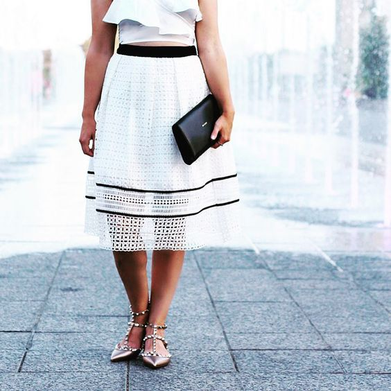 MIDI lace skirt, ruffle crop top, and Valentino rockstud flats. Date night look. Style