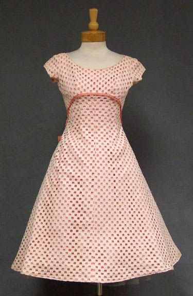 Kay Selig Pink & Ivory 1950's Party Dress