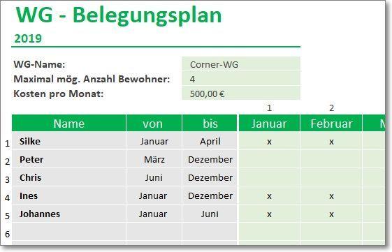 Wg Belegungsplan Fur Excel Planer Vorlagen Excel Vorlage