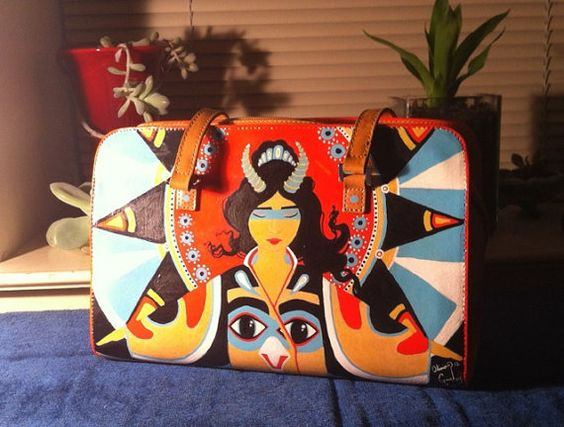Horned Priestess Hand Painted leather purse by honeycombbones, $60.00
