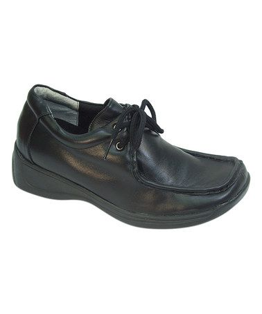 Loving this Black Loafer-Style Lace-Up Leather Walking Shoe on #zulily! #zulilyfinds